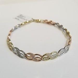 Jewelry - 10K Tri-Gold Infinity Bracelet with Cubic Stones!